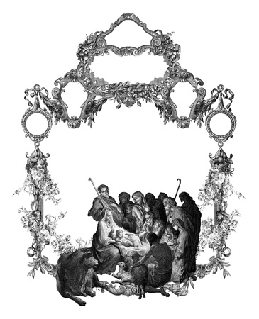 groupe: Old Vintage Victorian frame with Christmas.