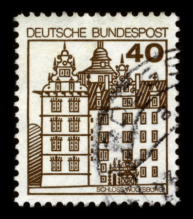 documented: GERMANY - CIRCA 1980: A stamp dedicated to The Wolfsburg is a 1302 first documented medieval lowland and water castle, which later transformed into a Renaissance castle, circa 1980.