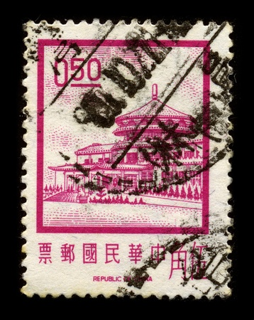 mediaval: CHINA - CIRCA 1970: A stamp printed in CHINA shows image of the dedicated to the Architecture of China, circa 1970. Editorial