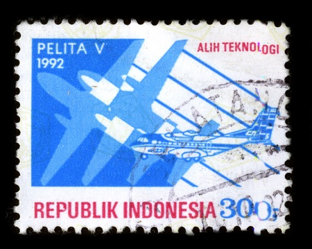 mediaval: INDONESIA - CIRCA 1992: A stamp dedicated to the Pelita Air Service is an airline based in Jakarta, Indonesia, circa 1992.