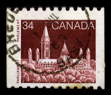 CANADA - CIRCA 1985: A stamp dedicated to The Parliament of Canada is the federal legislative branch of Canada, seated at Parliament Hill in the national capital, Ottawa, circa 1985. Stock Photo - 8568104