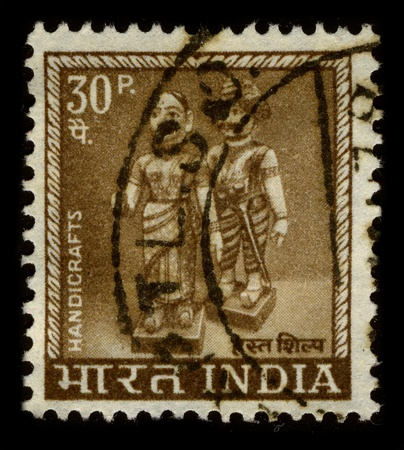 indian postal stamp: INDIA - CIRCA 1960: A stamp dedicated to The history of Indian handicrafts, circa 1960.