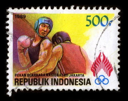 mediaval: REPUBLIK INDONESIA - CIRCA 1989: A stamp dedicated to the Boxing, also called pugilism, is a combat sport and martial art in which two people fight using their fists for competition, circa 1989.