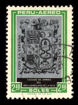 gomez: PERU - CIRCA 1980: A stamp dedicated to the Arms of the Garcilaso de la Vega (April 12, 1539 -1616), born Gomez Suarez de Figueroa, was a Spanish (Viceroyalty of Peru, Spain) historian and writer, circa 1980.