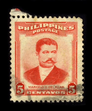 PHILIPPINES - CIRCA 1950: A stamp dedicated to the Marcelo Hilario del Pilar y Gatmaitan (August 30, 1850 - July 4, 1896) was a Filipino writer, journalist, satirist, and revolutionary leader of the Philippine Revolution, circa 1950.