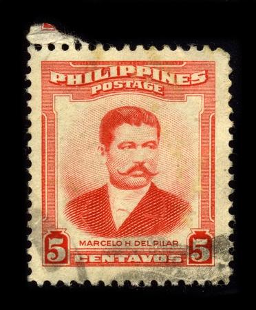 satirist: PHILIPPINES - CIRCA 1950: A stamp dedicated to the Marcelo Hilario del Pilar y Gatmaitan (August 30, 1850 - July 4, 1896) was a Filipino writer, journalist, satirist, and revolutionary leader of the Philippine Revolution, circa 1950.