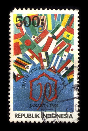 bloc: REPUBLIC OF INDONESIA - CIRCA 1980: A stamp dedicated to The Non-Aligned Movement (NAM) is an intergovernmental organization of states considering themselves not aligned formally with or against any major power bloc, circa 1980.