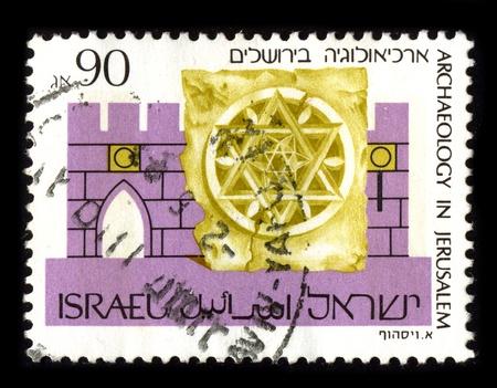prehistoria: ISRAEL - alrededor de 1990: Un sello dedicado a la arqueolog�a de tramos de Israel desde la prehistoria tres milenios de historia documentada, alrededor de 1990.