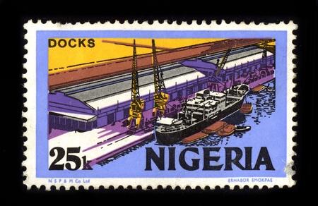 NIGERIA - CIRCA 1980: A stamp dedicated to the Docks Nigeria, circa 1980.