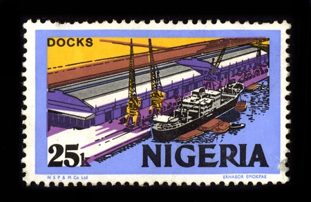 cancelled stamp: NIGERIA - CIRCA 1980: A stamp dedicated to the Docks Nigeria, circa 1980.