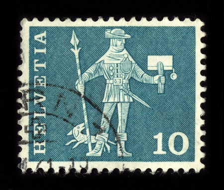 SWITZERLAND - CIRCA 1980: A stamp dedicated to the postage stamps and postal history of Switzerland, circa 1980. Stock Photo - 8608160