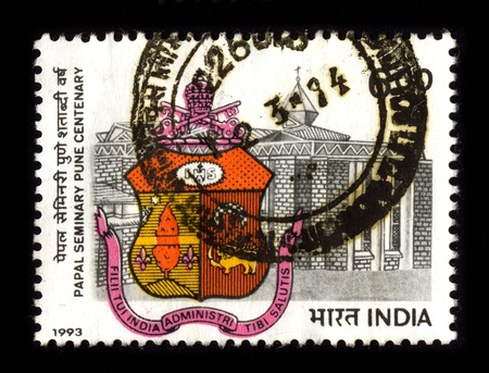 pune: INDIA - CIRCA 1993: A stamp dedicated to the Papal Seminary, Pune, India, is a Catholic educational institute, primarily meant for the training of future priests of India, circa 1993.