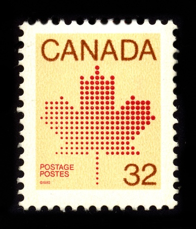 postal office: CANADA - CIRCA 1982: A stamp dedicated to The National Flag of Canada, also known as the Maple Leaf, and lUnifolie (French for the one-leafed), circa 1982. Editorial