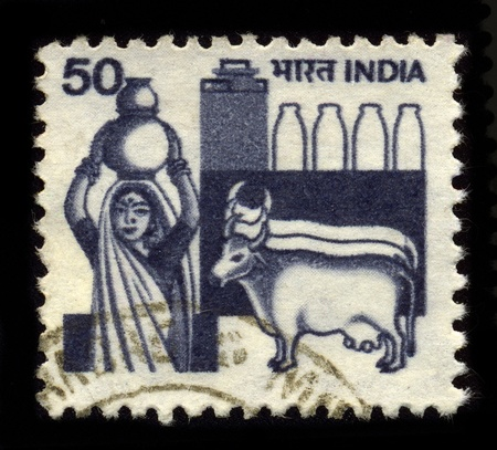 indian postal stamp: INDIA - CIRCA 1970: A stamp dedicated to the variety of dairy projects are indigenous to India and an important part of Indian cuisine, circa 1970.