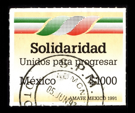 municipalities: MEXICO - CIRCA 1991: A stamp dedicated to the Solidaridad is one of the nine municipalities that make up the Mexican state of Quintana Roo, circa 1991. Editorial
