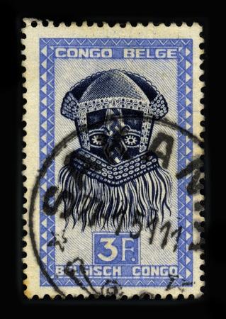 visard: CONGO - CIRCA 1951: A stamp dedicated to the Mask Congo, circa 1951.