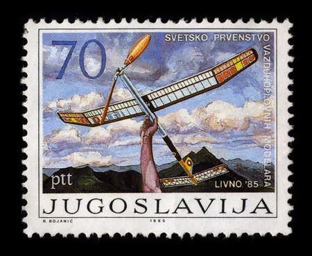 YUGOSLAVIA - CIRCA 1985: A stamp dedicated to the World Championship modeler, circa 1985.