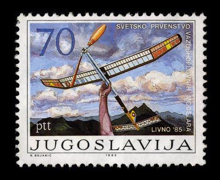 former yugoslavia: YUGOSLAVIA - CIRCA 1985: A stamp dedicated to the World Championship modeler, circa 1985.