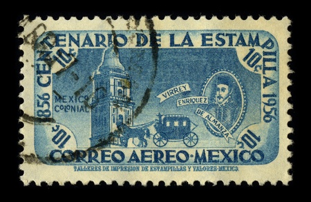 MEXICO - CIRCA 1956: A stamp dedicated to the Don Martin Enriquez de Almanza (died ca. March 13, 1583) was the fourth viceroy of New Spain, who ruled from November 5, 1568 until October 3, 1580, circa 1956.