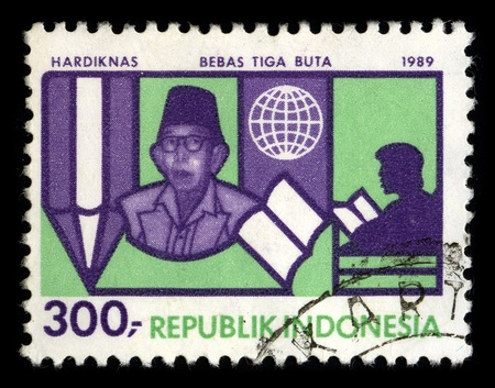 celebrated: REPUBLIC OF INDONESIA - CIRCA 1989: A stamp dedicated to the Indonesian National Education Day or abbreviated as HARDIKNAS (Hari Pendidikan Nasional) has been celebrated since 2 May 1908, circa 1989.