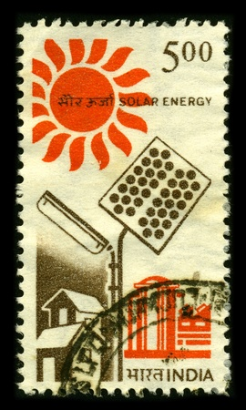 INDIA - CIRCA 1980: A stamp dedicated to the Solar energy, radiant light and heat from the sun, has been harnessed by humans since ancient times using a range of ever-evolving technologies, circa 1980. Editorial