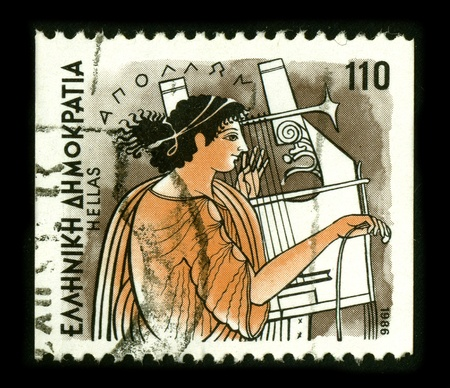 dedicated: GREECE - CIRCA 1986: A stamp dedicated to the Apollo is one of the most important and diverse of the Olympian deities in Greek and Roman mythology, circa 1986.