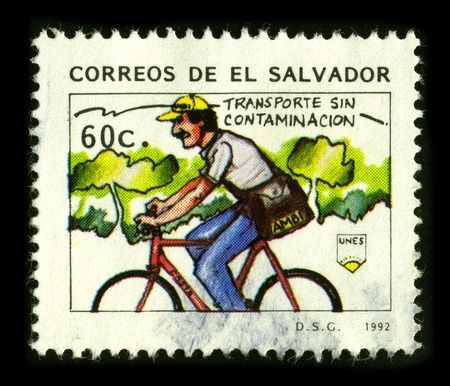 velocipede: SALVADOR - CIRCA 1992: A stamp dedicated to the Postal Service El Salvador, circa 1992.