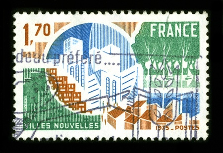 planned: FRANCE - CIRCA 1975: A stamp dedicated to the New town is a specific type of a planned community, or planned city, that was carefully planned from its inception and is typically constructed in a previously undeveloped area, circa 1975. Editorial