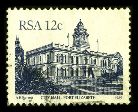 postal office: SOUTH AFRICA - CIRCA 1985: A stamp dedicated to the Port Elizabeth is one of the largest cities in South Africa, situated in the Eastern Cape Province, 770 km (478 mi) east of Cape Town, circa 1985.