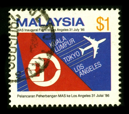 abbreviated: MALAYSIA - CIRCA 1986: A stamp dedicated to the Malaysia Airlines System Berhad , DBA Malaysia Airlines (abbreviated MAS), is the government-owned flag carrier of Malaysia, circa 1986. Editorial
