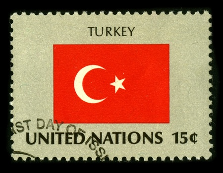 UNITED NATIONS - CIRCA 1980: A stamp dedicated to The flag of Turkey (Turkish: Turk bayrag?) is a red flag with a white crescent moon and a star in its centre, circa 1980.