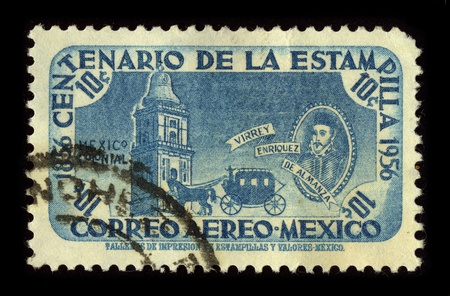 MEXICO-CIRCA 1956:A stamp printed in MEXICO shows image of the Don Martin Enriquez de Almanza (died ca. March 13, 1583) was the fourth viceroy of New Spain, who ruled from November 5, 1568 until October 3, 1580, circa 1956.