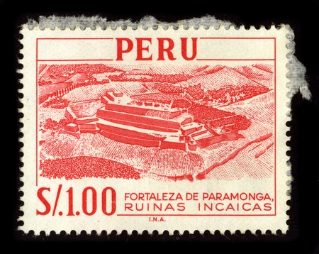 lima province: PERU-CIRCA 1980:A stamp printed in PERU shows image of the Fortress of Paramonga., circa 1980.