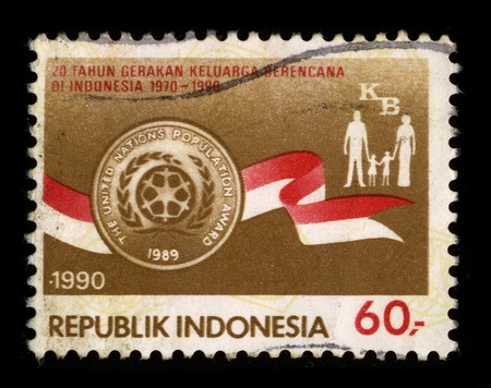 INDONESIA-CIRCA 1990:A stamp printed in INDONESIA shows image of the Family, circa 1990. Stock Photo - 8717631