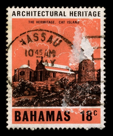cat island: BAHAMAS-CIRCA 1980:A stamp printed in BAHAMAS shows image of the Cat Island is in the central Bahamas, and one of its districts, and has the nations highest pointl, circa 1980.