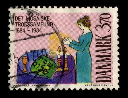 jewish community: DENMARK-CIRCA 1984:A stamp printed in DENMARK shows image of The Jewish community of Denmark constitutes a small minority with a known history back to the 17th century, circa 1984. Editorial