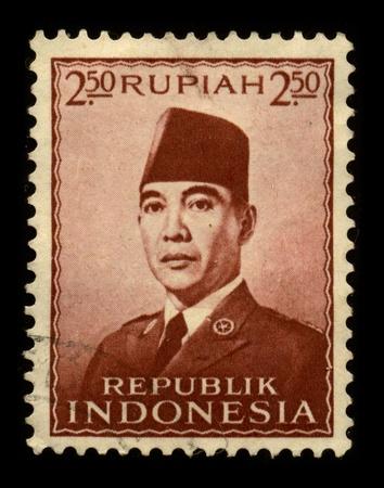 sukarno: INDONESIA-CIRCA 1970:A stamp printed in INDONESIA shows image of the Sukarno, born Kusno Sosrodihardjo (6 June 1901 - 21 June 1970) was the first President of Indonesia, circa 1980. Editorial