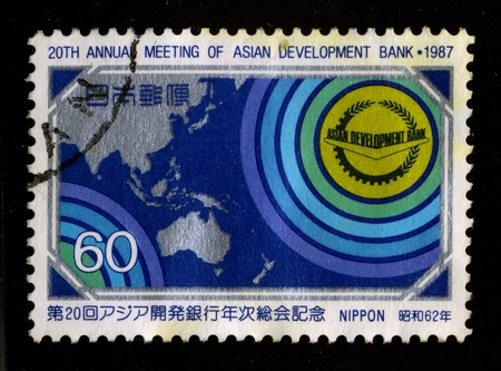 stamp collecting: JAPAN-CIRCA 1987:A stamp printed in JAPAN shows image of the 20th annual meeting of asian development bank, circa 1987. Editorial