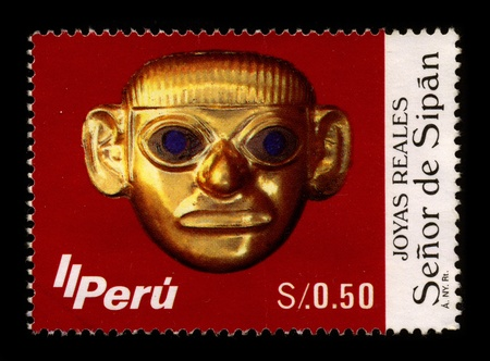 visard: PERU-CIRCA 1987:A stamp printed in PERU shows image of The Lord of Sipan (El Senor de Sipan) is the name of a mummy of an elite man found in Sipan by Peruvian archaeologist Walter Alva in 1987, circa 1987. Editorial
