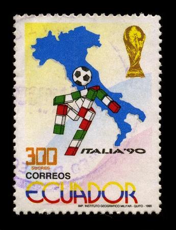 ECUADOR-CIRCA 1990:A stamp printed in ECUADOR shows image of The 1990 FIFA World Cup was the 14th FIFA World Cup, the quadrennial international football world championship tournamentl, circa 1990.