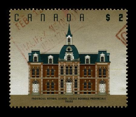 normal school: CANADA-CIRCA 1980:A stamp printed in CANADA shows image of The Toronto Normal School was a teachers college in Toronto, Ontario, Canada, circa 1980. Editorial