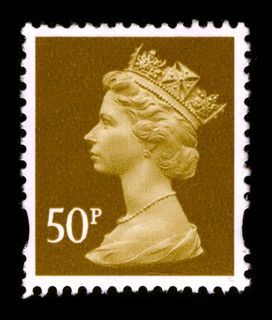 UNITED KINGDOM - CIRCA 1990: An English Used First Class Postage Stamp printed in UNITED KINGDOM showing Portrait of Queen Elizabeth in gold, circa 1990. Stock Photo - 8724347