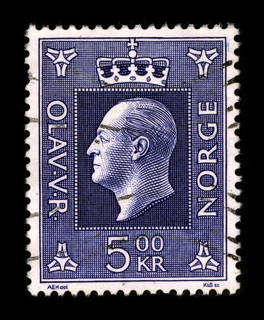 NORWAY-CIRCA 1957: A stamp printed in NORWAY shows image portrait to the Olav V (2 July 1903 - 17 January 1991) was the king of Norway from 1957 until his death, circa 1957.