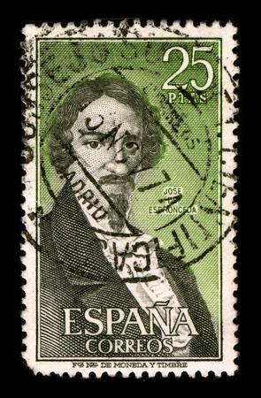 SPAIN-CIRCA 1974: A stamp printed in SPAIN shows image portrait Jose Ignacio Javier Oriol Encarnacion de Espronceda y Delgado (March 25, 1808 - May 23, 1842) was a famous Romantic Spanish poet, circa 1974.