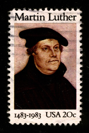 reformation: USA - CIRCA 1983: A stamp printed in USA shows image portrait Martin Luther (10 November 1483 - 18 February 1546) was a German priest and professor of theology who initiated the Protestant Reformation, circa 1983.