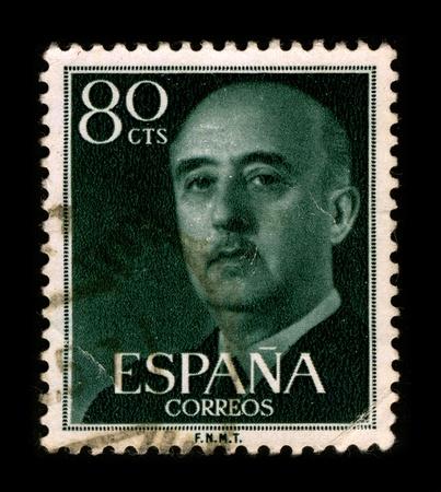 SPAIN-CIRCA 1975: A stamp printed in SPAIN shows image portrait Francisco Paulino Hermenegildo Teodulo Franco y Bahamonde Salgado Pardo de Andrade,commonly known as Franco, was a Spanish military general and dictator, circa 1975. Editorial