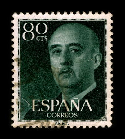 SPAIN-CIRCA 1975: A stamp printed in SPAIN shows image portrait Francisco Paulino Hermenegildo Teodulo Franco y Bahamonde Salgado Pardo de Andrade,commonly known as Franco, was a Spanish military general and dictator, circa 1975. Editorial