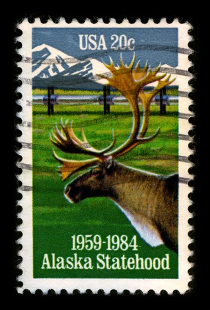 USA-CIRCA 1984:A stamp printed in USA shows image of the Alaska is the largest state in the United States by area, circa 1984. Stock Photo - 8724405