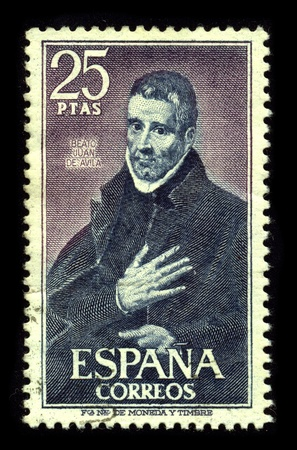 SPAIN-CIRCA 1980:A stamp printed in SPAIN shows image of the Saint John of Avila, Apostle of Andalusia (6 January 1500, Almodovar del Campo - 10 May 1569, Montilla, Spain) was a Spanish apostolic preacher, author, mystic and saint, canonized in 1970, circ