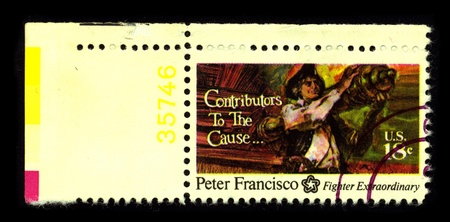 USA-CIRCA 1970:A stamp printed in USA shows image of the Peter Francisco (c. 1760 - January 16, 1831), known variously as the Virginia Giant or the Giant of the Revolution (and occasionally as the Virginia Hercules or some variant thereof), was an A
